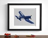 boys wall art - airplane art print - F4U Corsair - pick your colors - childrens transportation art, boy nursery art