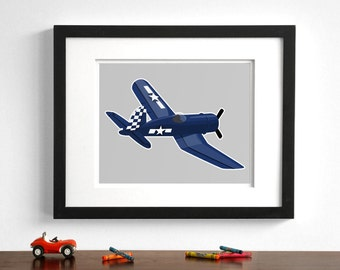boys wall art - airplane art print - F4U Corsair - pick your colors - childrens transportation art, boy nursery art
