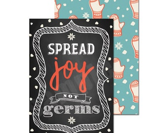Spread Joy Not Germs Hand Sanitizer Gift Tag Printable Party Favor
