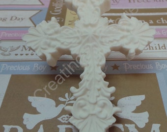 """FONDANT CROSS 4"""" - Edible Crosses great for cupcakes, cakes and cookies. Birthdays, weddings, baby showers and christening"""