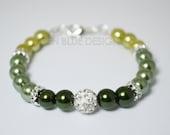 Green Pearl Bracelet, Ombre Pearl Bracelet, Sage  Pearl Bracelet, Pearl Bracelet, Pearl and Rhinestone Bracelet, Green Pearl Wedding Jewelry