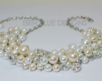 Pearl Cluster Necklace, White & Ivory Pearl Necklace, Chunky Pearl Necklace, Pearl Bridal Jewelry, Bridal Pearl Necklace, Pearl Jewelry