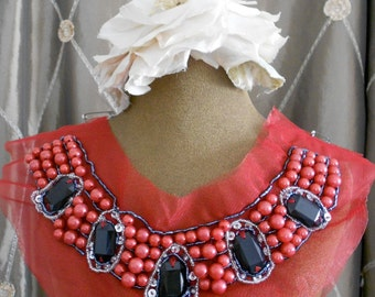 Red Pearl Beaded Appliques