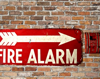 vintage fire alarm sign and alarm box, industrial sign, industrial decor, urban loft, fire collectibles