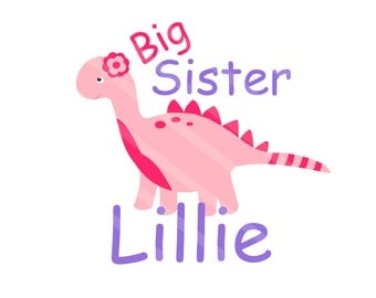 Big Sister Dinosaur Digital Download Personalized for iron-ons, heat transfer, Scrapbooking, Cards, Tags, DIY YOU PRINT