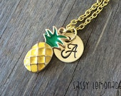 Aloha Pineapple Monogram Necklace / Personalized Monogram Initial Hand Stamped Pineapple Charm Necklace/ Monogram Necklace