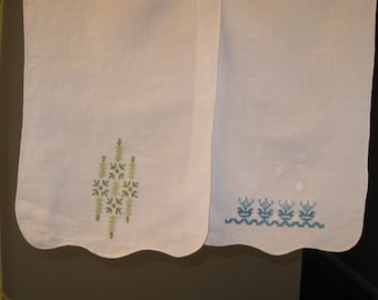 Two Embroidered Linen Dresser Table Scarves Doilies