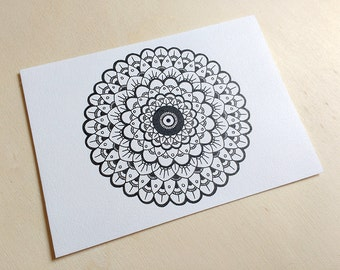 Mandala OOAK Original - Hand Drawn Freehand Inked - FREE SHIPPING