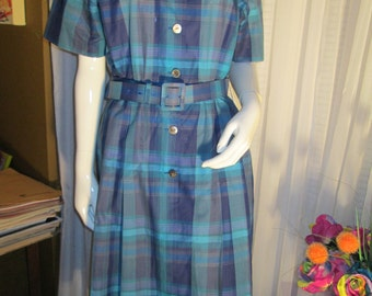 1980's/1990's Casual Ladies Blue Plaid DRESS by BURBERRYS