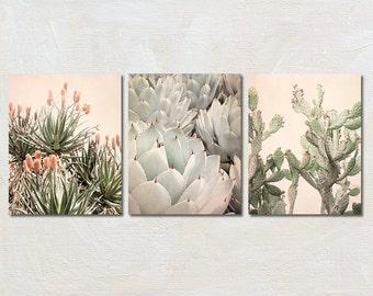 Cactus Print Set of 3, Three Vertical Photograph Collection, California Wall Art, Boho Artwork, Contemporary Decor, Succulent Photo Set