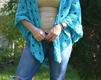 Turquoise Virus Shawl