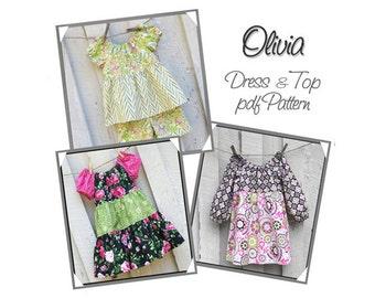 Olivia...Long & Short Sleeve Peasant Dress Pattern, Girl's Sewing Pattern, Girl's Dress Pattern .Toddler Dress Pattern. Sizes 12mo-girl's 8
