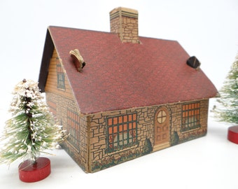 1930's Lithograph House by Bilt-Rite Toys, Antique Cardboard Play House for Christmas Village