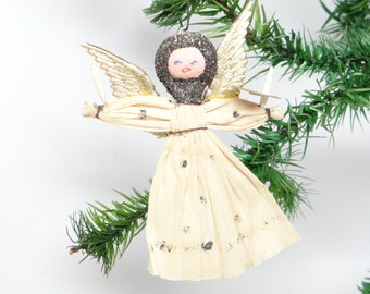 Vintage Austrian Angel, Hand Painted Face, Gold Dresden Wings, Antique Christmas Ornament