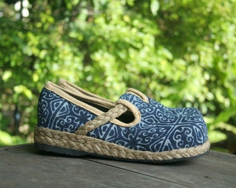 Womens Shoes, Natural Indigo Batik Hmong Vegan Loafers - Casey