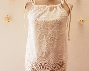 White Lace Top Piece Bikini Best friend White Cami Beach Clothing Summer Sea Lace See Through Cute Blouse