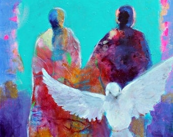 "Spirit Painting, Spiritual Art, Colorful Acrylic Original, Angels, Bird, ""The Dove Was Sent Out Like a Prayer"" 20x24"""
