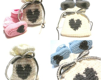 Pregnancy or gender reveal baby booties in handmade gift bag.  Baby shower gift baby boy, baby girl or gender neutral.  Crochet baby booties