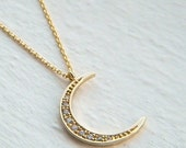 Gold Crescent Moon Cubic Zirconia Layering Necklace