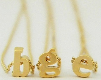 SALE Gold Lower Case Initial Necklace, Peronalized Necklace