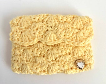 Crochet Business Card Case: Banana Yellow.  Business card holder.  Planner Accessories. Gift Card Holder. Coin case. Bridesmaids Gifts