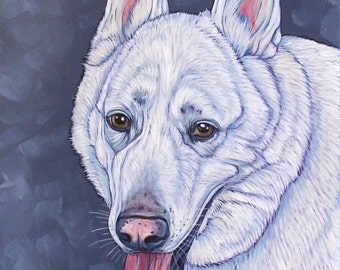 """Custom Pet Portrait Painting Canvas in Acrylics 11"""" x 14"""" x 3/4"""" of One Dog, Cat, Animal. Ready to hang, no framing needed dog lover gift."""