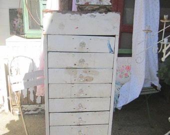 Vintage cabinet  Chippy white shabby chic metal  with drawers shabby chic cottage chic