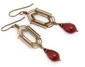 Red Pearl Earrings - Antiqued Brass Nickel Free Earrings - Dark Red Earrings - Art Deco Jewelry - Dangle Earring - Art Deco Earrings (Casie)