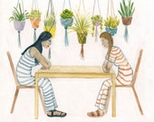 Girls and Plants Art - Original Gouache Painting
