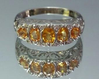 Vintage 14k Orange Sapphire & Diamond Filigree White Gold Ring