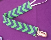 Blue and Green Chevron Pacifier Clip