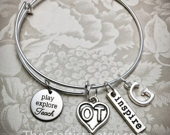 OT Bracelet, Occupational Therapy Bangle, OT Charm, Occupational Therapy Gift, Gifts for OT, Play Explore Teach, Ot Jewelry, Ot Gifts