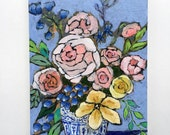 Original abstract still life flower painting wall art - From a Table in Birmingham