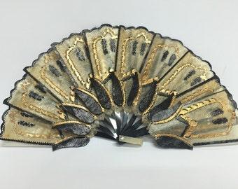 Vintage Indonesian Black Gold Java Pierced Folding Fan