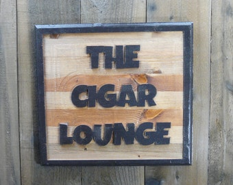 Weathered Cigar Lounge Sign Plaque - Fathers Day Man Cave Paint Aged Pine Wood - Art Home Decor Engraved Pine Wood Raised Letters