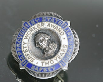 Vintage Sterling and Enamel Safety Workers Award Pin