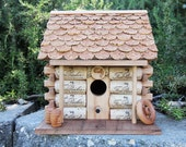 Log Cabin Birdhouse, Fess Parker corks, wine cork art