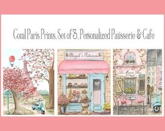 Coral Nursery Girl's Wall Art, Coral And Gray Decor, Paris Art Prints, Paris Decor, Set Of 3 Fine Art Prints,  Personalized Cafe, Patisserie