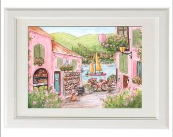 Travel Themed Nursery Wall Art, Travel Art Print, Lake Como, Italy, Italian Baby Shower Gift, Baby Nursery Art, Italian Girl Gift Idea
