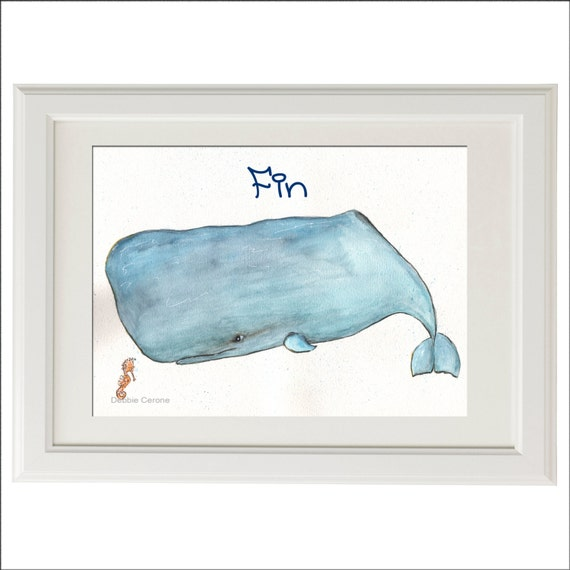 Kid 39 s bathroom dolphin whale art under water by for Dolphin bathroom design