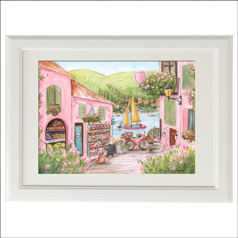 Travel Themed Nursery Wall Art Travel Art Print Lake Como