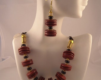 Afrocentric Rust Red Wood Disk Beaded Necklace and Earrings Set