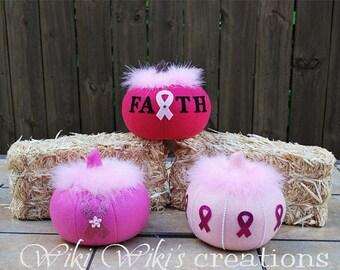 Breast Cancer Large Plush Pink Pumpkins