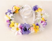 Floral Hair Wreath - wedding flower crown, woodland headband, white daisy, babys breath, purple pink yellow wildflowers, wedding hair piece
