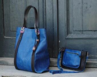 Sapphire matt  oversized giant tote bag /set with small purse Ladybuq