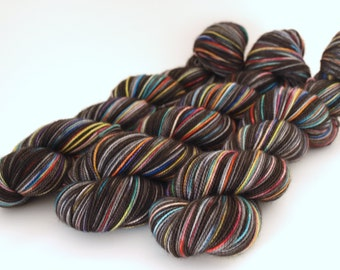 Hand Dyed Fingering/Sock Yarn, 80/20 SW Merino/Nylon, Out of the Darkness