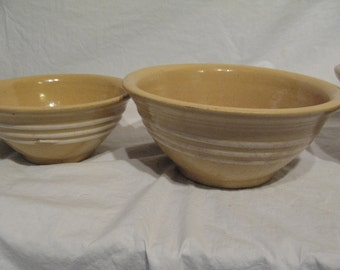 Set of Four Antique Yellow Ware Nesting Bowls