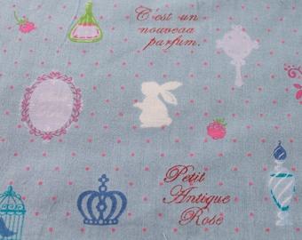 Light Blue Polka Dot French White Rabbit Swan Perfume Kawaii Japanese Fabric, 1 yard