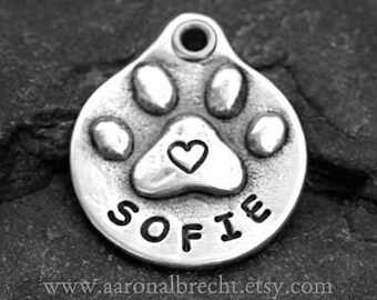 Personalized Dog Tag - Pet Tag - Dog ID Tag - Pet ID Tag - Handmade Paw Print with Heart