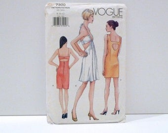 Halter dress Vogue 7300 Never Used Space Age Sundress Cutout Party Dress Sewing Pattern FF uncut Size 8 10 12 A Line Mini Slip Dress Sexy